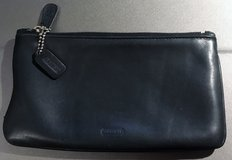 REAL COACH BLACK LEATHER VINTAGE MAKEUP BAG in Lakenheath, UK
