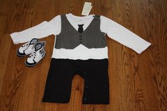 NEW WITH TAG BABY BOY ELIBELLA TIE AND VEST COTTON JUMPSUIT WITH BLACK AND BLUE SHOES in Elgin, Illinois