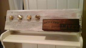 Whitewashed Barnwood Coat/Apron Rack W/Antique Kraft Cheese Wooden Crate in Bolingbrook, Illinois