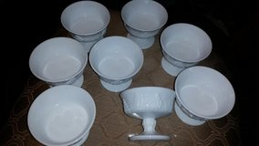 Vintage Milk Glass 8 Piece Sherbert Bowl Set in Clarksville, Tennessee