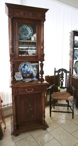 beautiful tiger oak dining room hutch / display cabinet with hand carved ornaments in Stuttgart, GE