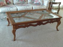 Oak Coffee Table with Beveled Glass in Tinley Park, Illinois
