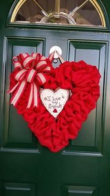 Red Burlap Heart Shaped Valentine's Day Wreath in Naperville, Illinois