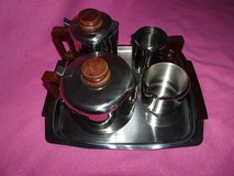 1970's stainless steel teaset and tray in Lakenheath, UK