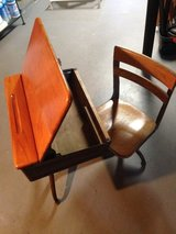 Antique Wooden School Desk with Swivel Chair - $65 in Great Lakes, Illinois