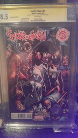 Spider Gwen # 1 8.5 Variant, Signed by Stan Lee and Humberto Ramos in Okinawa, Japan
