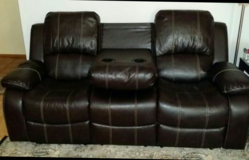 Brown  Leather Reclining Sofa/Loveseat in Tomball, Texas