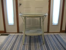 Cute Wicker Table/Nightstand with Glass in Joliet, Illinois