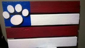 U.S. Puppy Paw Flag painted wood in Sandwich, Illinois