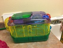 Hamster cage, hamster ball, igloo, 1/2 bag bedding, 1/2 bag of food, wooden chews in Alamogordo, New Mexico