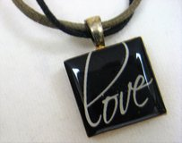 "Life Tiles Scrabble Love Black Laquer Silver Tone 20"" Leather in Kingwood, Texas"