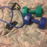 8 lb weights and exercise band with grips in Kankakee, Illinois