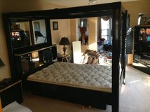 Queen size black lacquer canopy bed  with mirrors. in Elgin, Illinois
