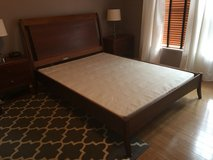 Queen Bed Frame and Head Board and Low Profile Box Spring in Chicago, Illinois