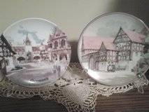 Two porcelain plates Depicting German Street Scene in Chicago, Illinois