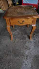 Oak square end table w/drawer in Naperville, Illinois