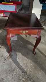 Cherry wood end table w/drawer in Naperville, Illinois
