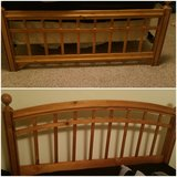 Full Size wooden Headboard and Footboard with metal frame in Dothan, Alabama