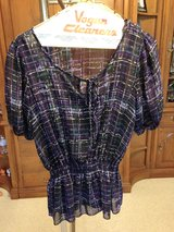 Black/Purple/White/Teal Plaid Short sleeve top w/black tank top underneath by AB Studio - S in Naperville, Illinois