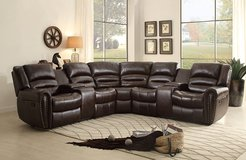 3 Piece Dark Brown Sectional w Reclining Nail Head Accent with 2 set Cup Holders in Fort Lewis, Washington