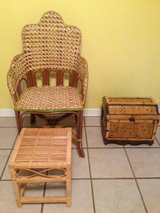Wicker/cane chair with footrest in Columbus, Georgia