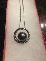 Silver Gray Pearl and Crystal Necklace and Earrings- New! in Bolingbrook, Illinois