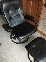 Leather chair with slide back adjustment and ottoman in Bolingbrook, Illinois