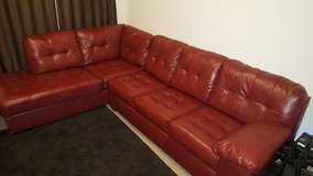 Red Leather Sectional Couch in Elgin, Illinois
