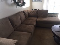large sectional couch- tan, suede in Oceanside, California
