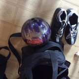 Bowling ball,  shoes and bag in Perry, Georgia