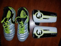 """Puma Kids Soccer Cleats Size 13 (Youth/Enfants) & Puma Shin Guards (size up to 4'1"""") in Fort Belvoir, Virginia"""
