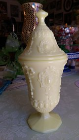 Covered custard glass jar in Warner Robins, Georgia