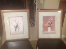 Matching Medium 16x19 Wood Framed Floral Art Prints Beige Neutral in Camp Lejeune, North Carolina