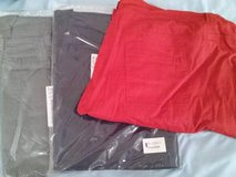 Stone Grey, Navy and Rust Orange color Twill pants size 30-nwt-$15 each in Byron, Georgia