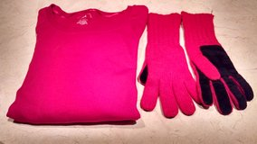 Valentine's Day Special - Ladies' Red, Long-sleeved Pullover Top and Gloves in Joliet, Illinois