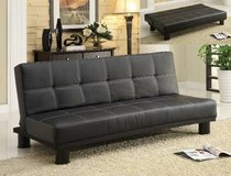 RETRO STYLING BLACK LEATHER SOFA BED / FUTON /NEW! WARRANTY! in Vista, California