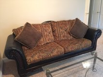 Leather/ Embroidered Fabric/ Wood Couch and Love Seat in Camp Lejeune, North Carolina