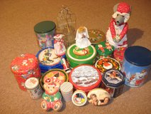 Assortment of Christmas tins and Angels in New Lenox, Illinois