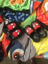 Spider-Man croc and sandals in Fort Irwin, California