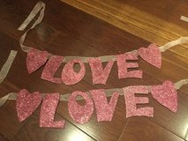 "2 ""Love"" Banners - Pink Glitter Letters & Hearts on Pink Ribbon in Batavia, Illinois"