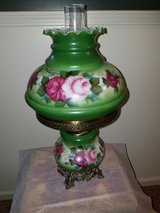 Hurricane table lamp red green roses in Fort Rucker, Alabama