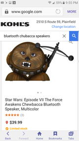 Bluetooth chewbacca speaker new in Joliet, Illinois