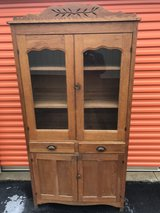 Oak Glass Door Cabinet / Cupboard in Cherry Point, North Carolina