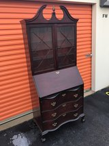 Serpentine 3 Drawers Mahogany Chippendale Secretary in Cherry Point, North Carolina