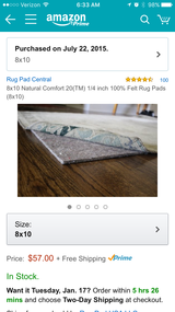 8x10 Rug Pad in Glendale Heights, Illinois