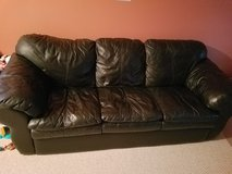 Genuine Leather Black Couch and Recliner in Lockport, Illinois