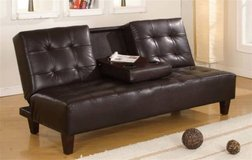 NEW! LEATHER CUPHOLDER SOFA BED / FUTON  /NEW IN PKG WITH WARRANTY! in Vista, California