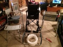 Portable wheelchair, walker, portable toilet, elevated toilet seat with grab bars, shower chair,... in Glendale Heights, Illinois