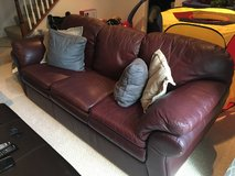 Lazy Boy leather 3 cushioned couch and love seat (burgundy/maroon) in Fairfax, Virginia