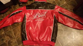 NEW Budweiser Nascar Large Red/Black Leather Jacket in Clarksville, Tennessee